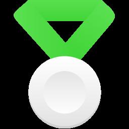 Silver metal green icon